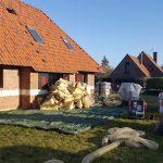 préparation de chantier d'isolation des comble d'une maison en laine soufflée