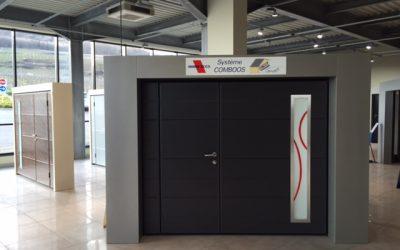 Showroom avec porte d'entrée en aluminium système comboos, menuisier expert qualifié RGE Maubeuge